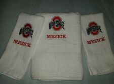 CUSTOM PERSONALIZE 3PC OHIO STATE BUCKEYES EMBROIDERED BATH WHITE HAND TOWEL SET
