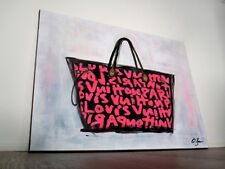 Louis Vuitton Pop Art - Shabby Acryl Kunst - signiert St. Bam Fashion Pink Gold