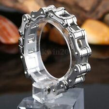 "8.5"" Men Stainless Steel Heavy Silver Motorcycle Bike Chain Bracelet Decor"