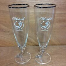 MICHELOB HORN GLASS RITZENHOFF CRISTAL Crystal Beer Silver Rimmed Pint .4L NEW