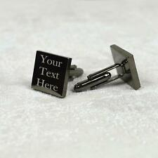 Personalised Cuff-links Gold And Black Square Engraved Wedding Birthday Gift
