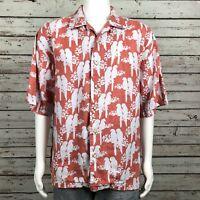 Pusser's Button Up Camp Shirt XL Men's Orange White Hawaiian Tropical Parrot