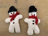 Vintage Felt Snowman Christmas Ornaments Set Of 2