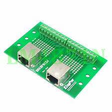 1pce PCB Board Dual RJ45 Ethernet female jack port Terminal Breakout header AV