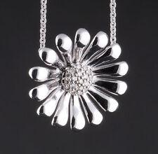 Georg Jensen Chapado en Rodio Plata de Ley Margarita Colgante con Diamantes #611