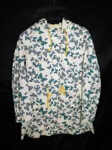 ModCloth M Butterfly Jacket Ivory Anorak Cotton Zip Hood Drawstring Butterflies