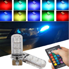 2PCS 6SMD T10 W5W 5050  RGB LED Multi Color Light Car Wedge Bulbs Remote Control