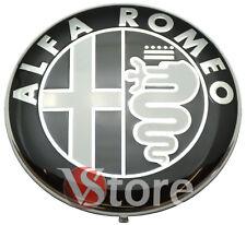 2 ARMAS ALFA ROMEO LOGO FRISO 74mm Negro capó TRASERA FRONTAL EMBLEMA
