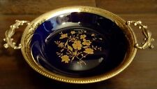 Limoges France Ormolu Gilt Hand Painted Dish Tray Trinket Brass Trim