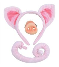 Adult, Child Pig Ears,Nose & Tail Set Fancy Dress Headband Costume Accessory Kit