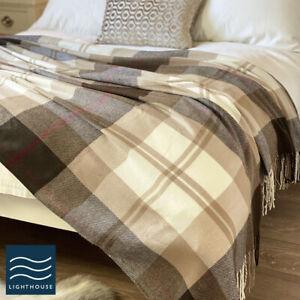 Luxury X Large Bed Throw Brown Natural Tartan Soft Wool Feel Blanket Fringed