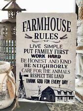Farmhouse Rules Sign - Farm Sign -  Home Decor  - Farmhouse Decor -  Metal Sign