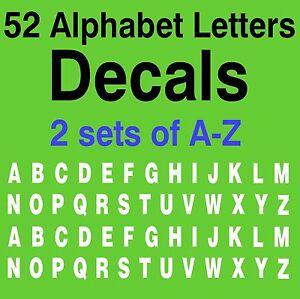 A-Z ALPHABET LETTERS DECALS 1 SET OF 2 26 A-Z LETTERS 52 LETTERS VINYL STICKER