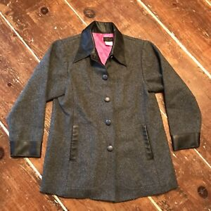 Linda Lundstrom Womens 10 Jacket Gray Wool Button Up Coat Made in Canada