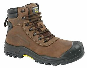 Mens Leather Waterproof Fully Composite Non-Metal Safety Ankle Work Boots Shoes