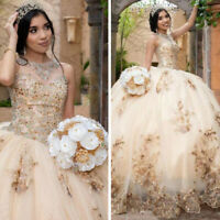 Gold Ball Gown Quinceanera Dresses Beaded Evening Party Dress Sweet 16 Dress