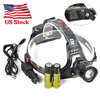 30000LM BORUiT XM-L2 LED Headlamp USB Head Flashlight Work Light Torch +2x18650