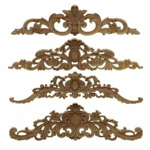Natural Wood Appliques Furniture Cabinet Unpainted Wooden Carving Moulding Decal
