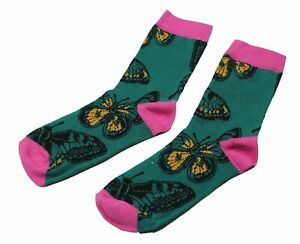 High Quality Cotton Green Butterfly Funny Crew Socks For Men/ Lady One SIZE