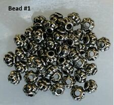 100pcs 2 Styles Round Silver Metal Tibetan Style Spacer Beads Jewelry Making
