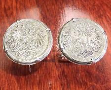 Antique WWI 1915 Imperial Austria Double Eagle Austrian Coin Cufflinks + Box!