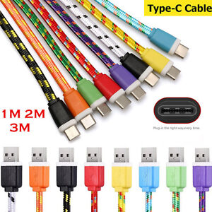 3/6/10ft Nylon Braided Flat USB-C Type C 3.1 Male to USB Fast Charger Cable Cord
