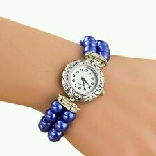 BLU caso Pearl Fascia Elastica Donna Watch Leather Band Analog Quarzo da Polso con quadrante