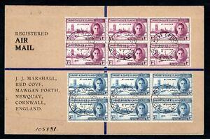 Gilbert & Ellice Islands - 1946 Victory Set Blocks on Registered Airmail Cover
