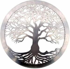 Silver Tree Of Life Metal Round Wall Art Garden Sculpture Plaque Home Decor 40c