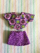 Mattel Kelly Barbie Doll Clothes Purple Sponge Print Mini Skirt Matching Crop To