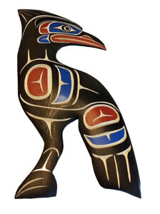 BC First Nations Native Canada Art STELLARS JAY Carving Plaque Northwest Coast