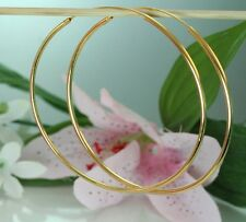 "22K 23K THAI BAHT YELLOW GOLD FILLED EARRINGS ~  3"" BIG CLASSIC POLISHED HOOP"