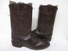JUSTIN Chocolate Brown Leather Roper Cowboy Boots Womens Size 6.5 A Style L3715
