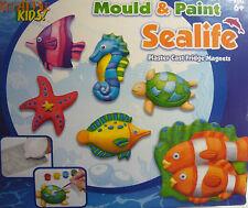 Mould & Paint Make your own Sealife Plaster Cast Fridge Magnets (Make 6)