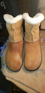 Skechers Rhythmic Tone-Ups Brown Suede Fold Up Down Faux Fur Ankle Boots US 8