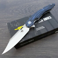 "Bestech Fanga Linerlock Folding Knife 4"" D2 Tool Steel Blade Blue G10 Handle"