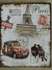 Blechschild  - Wandschild - Paris - Nostalgie - Antik Style  20 x 25  cm