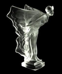 Art Deco Glass Car Mascot Nude Lady Hood Ornament Figurine 1930' H.Hoffmann