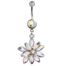 Cute Crystal Flower Belly Button Navel Ring Bar Body Piercing Jewellery