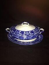 Early 3pc Melbourne Flow Blue Sauce Tureen