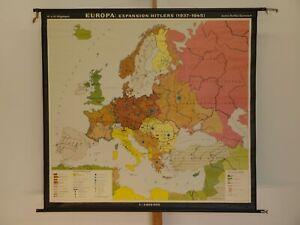 Europa 1937-1945 Hitler Wehrmacht SS NSDAP 2.Weltkrieg 1968 Wandkarte 146x135