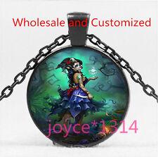 Sugar Flower Girl Cabochon Black Glass Chain Pendant Necklace HS-5859