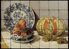 28x20 Monet Still Life with Melon Art Tiles for Kitchen