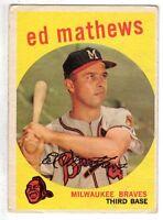 1959 Topps Baseball Card #450  Ed Mathews  Milwaukee Braves  VG