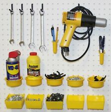 WallPeg Pegboard Kit, Assorted Peg Hooks & Part Bins - Garage Tool Storage EB640