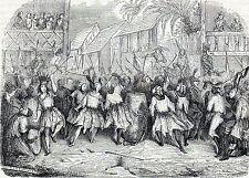 Antique print ,gravure carnaval,karnaval, mascarade Haiti 1841