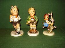3- HUMMEL FIGURINES, SCHOOL BOY, TRUMPET BOY & APPLE TREE GIRL, NICE SHAPE