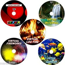 VIRTUAL AQUARIUM, LOG FIRE FIREWORKS WATERFALL & LAVA LAMP, 5 SOOTHING DVDs NEW