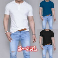 Fashion Mens Short Sleeve Crew Neck T-Shirt Casual Fitted Basic Tee Fitness Tops