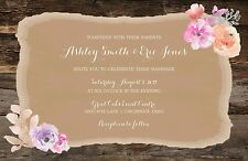Wedding Invitations Rustic Watercolor Flowers & Wood 50 Invitations & RSVP Cards